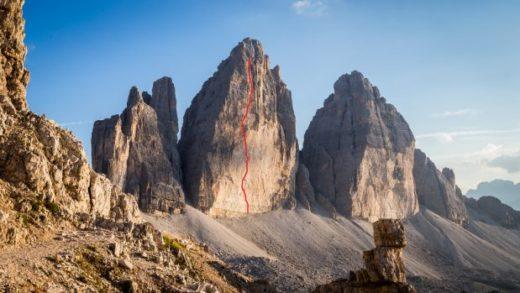 """Orientacyjny przebieg """"Drogi Hiszpańskiej"""" na Cima Grande di Lavaredo (fot. Justyna Matuszek)"""